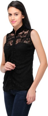Visach Casual Sleeveless Solid Women's Black Top