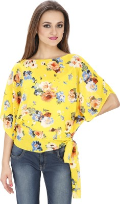 Svt Ada Collections Party Sleeveless Printed Women's Yellow Top