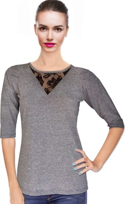 BeforeAfter Casual 3/4 Sleeve Solid Women's Grey Top