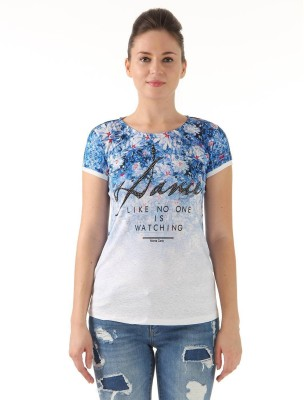 Monte Carlo Casual Short Sleeve Printed Women's White, Blue Top
