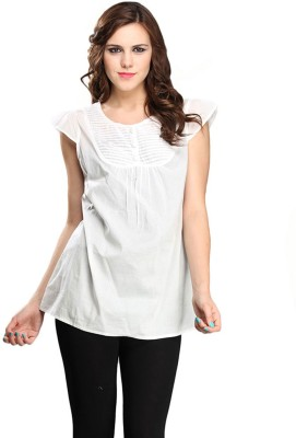 Pehraan Casual Cape Sleeve Solid Women's White Top