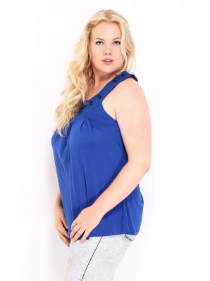 D Muse by DressBerry Casual Sleeveless Solid Women's Blue Top at flipkart