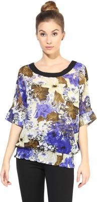 The Vanca Formal Short Sleeve Printed Women's Blue Top at flipkart