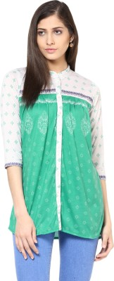 Fritzberg Casual 3/4 Sleeve Printed Women's Green Top