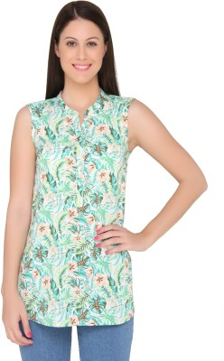The Beach Company Casual Sleeveless Solid Women's Green Top