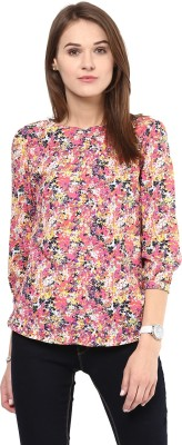 AROVI Casual 3/4 Sleeve Floral Print Womens Multicolor Top