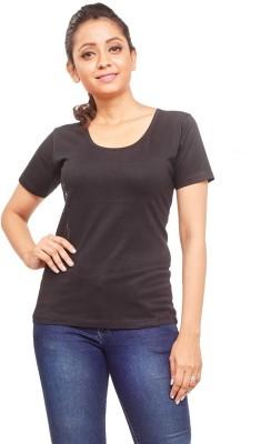 ELINA Casual, Party, Sports, Lounge Wear, Beach Wear Short Sleeve Solid Women's Black Top