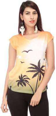 Life by Shoppers Stop Casual Short Sleeve Printed Women's Orange Top