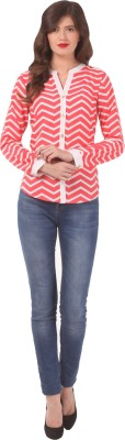 Eyelet Casual Full Sleeve Striped Women's Pink Top