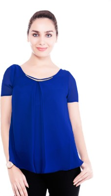 Revoure Formal, Casual Short Sleeve Solid Women's Blue Top