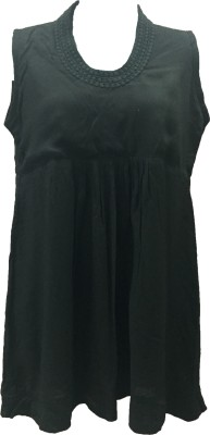 Dovekie Casual Sleeveless Solid Women's Black Top