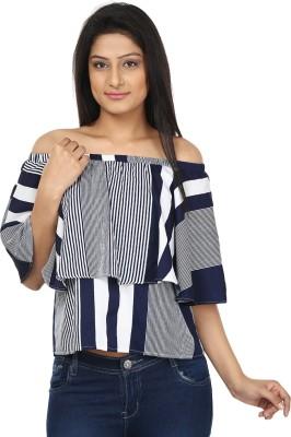 Gossip Girls Casual Butterfly Sleeve Striped Women,s Blue, White Top