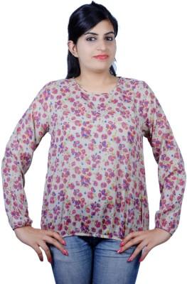 Kashana Fashions Casual Full Sleeve Floral Print Women's Brown Top