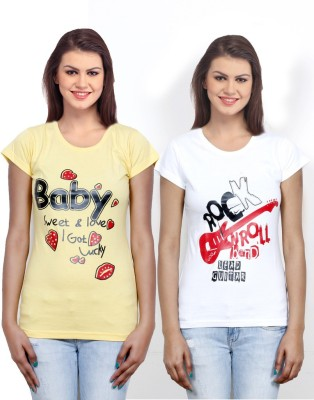 IndiWeaves Casual Short Sleeve Printed Girl's Yellow, White Top