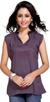 Vastrani Casual Sleeveless Printed Women's Purple Top