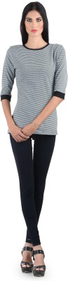 The Clove Casual 3/4 Sleeve Striped Women's Black Top