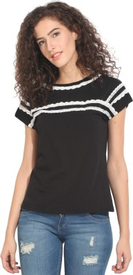 Hook & Eye Casual Short Sleeve Solid Women's Black Top