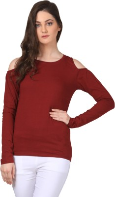 FashionExpo Casual Full Sleeve Solid Women's Maroon Top