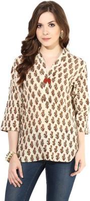 Indibox Casual 3/4 Sleeve Printed Women's Beige Top