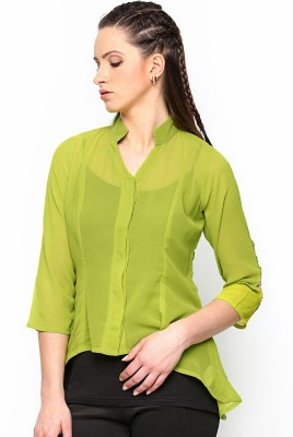 Paschime Casual Full Sleeve Solid Women's Light Green Top