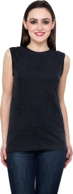 StyleToss Casual Sleeveless Solid Women's Black Top