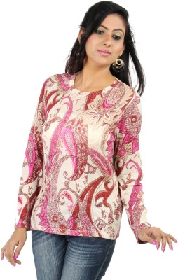 Casa Pashma Party Full Sleeve Floral Print Women's Multicolor Top