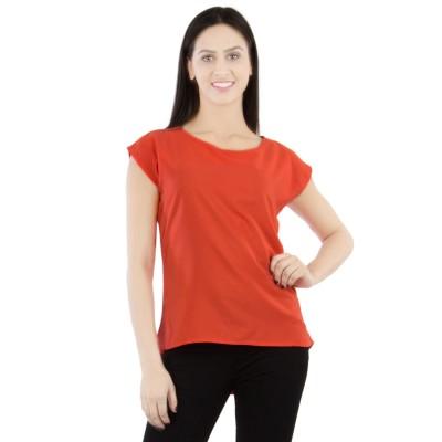GUDS Casual Cap sleeve Solid Women's Orange Top