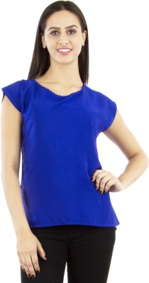 GUDS Casual Cap sleeve Solid Women's Blue Top