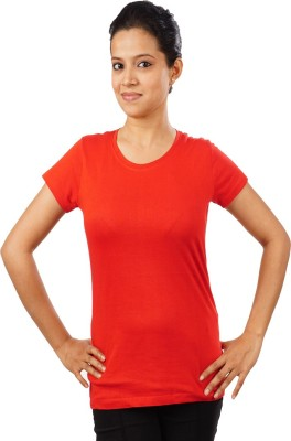 Indophile - Natural Fashion Casual Short Sleeve Solid Women's Red Top
