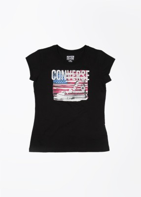 Converse Casual Short Sleeve Printed Girl's Black Top