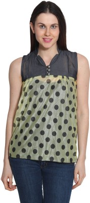 Sienna Casual Sleeveless Printed Women's Yellow, Grey Top