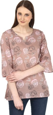 Sataro Casual, Party, Festive, Lounge Wear Full Sleeve Floral Print Women's Brown, Pink Top