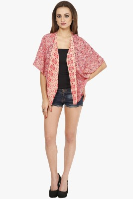 Citypret Casual Kimono Sleeve Printed Women's Pink Top