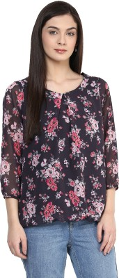 Color Cocktail Casual 3/4 Sleeve Floral Print Women's Multicolor Top