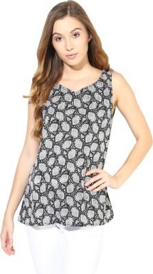 La Zoire Beach Wear, Casual Sleeveless Paisley Women's Black Top
