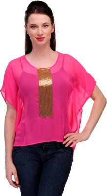 In-Trend Casual Butterfly Sleeve Solid Women,s Pink Top