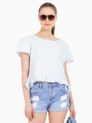 American Swan Casual Short Sleeve Solid Women's Blue Top
