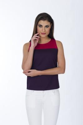Lisova Casual Sleeveless Solid Women,s Purple Top