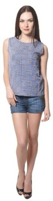 pinksisly Casual Sleeveless Solid Women's Blue Top
