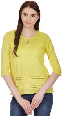 American Swan Casual Short Sleeve Self Design Women's Yellow Top