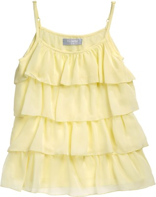 Kami Casual Sleeveless Solid Girl's Yellow Top