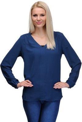 Curvy Q Casual Full Sleeve Solid Women's Blue Top