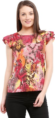 Prym Casual Cap sleeve Self Design Women's Multicolor Top