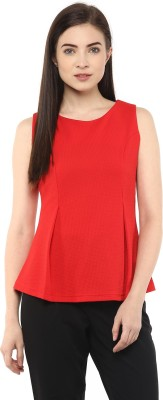 Moderno Party Sleeveless Solid Women's Red Top