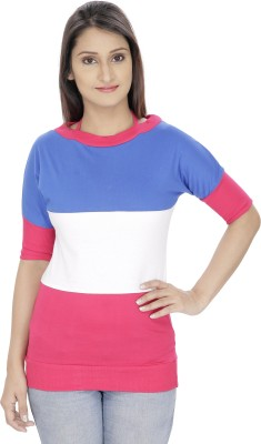 Franclo Casual Short Sleeve Striped Women's Blue, Pink Top