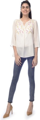Desi Belle Casual 3/4 Sleeve Solid Women's White Top