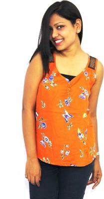 Aussehen Casual Sleeveless Printed Women's Orange Top
