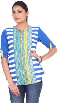 Pink Nine Casual 3/4 Sleeve Striped, Printed, Embellished Women's Blue Top