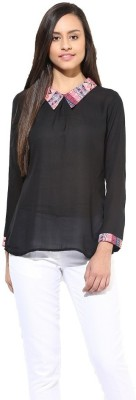 La Firangi Casual Full Sleeve Solid Women's Black Top
