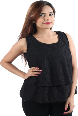 Awesome Party Sleeveless Self Design Women's Black Top